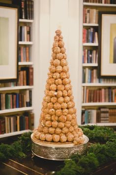 """"""" It was once believed that if a bride and groom could kiss over the top of a towering croquembouche without knocking it over, they would enjoy a prosperous life together."""" @Julia Newbold and @Lee is this going to happen at your wedding?"""