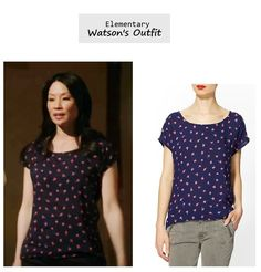 Lucy Liu as Joan Watson in Elementary - A Landmark Story (Ep. 121). Watson's Outfit: Splendid Parisian Tulip Top $78 here | Piperlime (also available in red). More Elementary Style here. More outfits from Ep. 121 here. Source: CBS