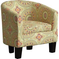 Found it at Wayfair - Barrel Chair - this is a barrel chair.  It comes in other fabrics, too.  Less than $100!