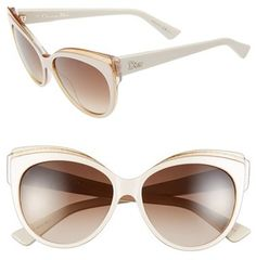 Dior Christian Dior 'Glisten 1' 56mm Cat Eye Sunglasses #dior #white #gold #cateye #sunglasses #sale #fashion