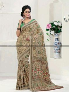 Beige N Green Pashmina Casual Printed Saree
