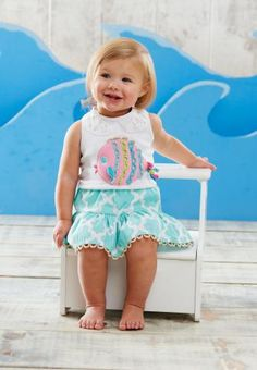 Cultivating Couture Children's Fashion - Mud Pie Under the Sea Skirt Set Discount Kids Clothes, 2 Piece Skirt Set, Nautical Outfits, Kids Clothing Brands, Clothing Sets, Children's Boutique, Boutique Clothing, Little Fashionista, Easter Dress