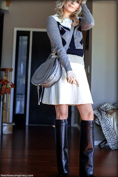 Outfit Of The Yesterday: White + Black + Navy + Leopard + Gray (& The Givenchy Sheath Shark Tooth Boots) Petite Fashion, Teen Fashion, Fashion Outfits, Womens Fashion, Givenchy Boots, Grey Outfit, All About Fashion, Black And Navy, Everyday Fashion