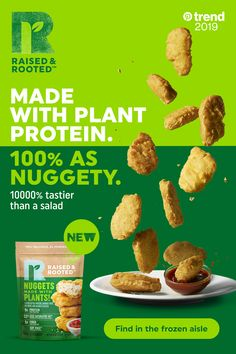 Raised and Rooted has the secret to better tasting plants - turn them into nuggets! Made with plant protein and 33 less saturated fat, compared to USDA white-meat chicken nuggets. Tap the Pin to learn more about the latest food trend. Turkey Burger Recipes, Pork Recipes, Diet Recipes, Vegetarian Recipes, Cooking Recipes, Healthy Recipes, Crockpot Recipes, Easy Recipes, Healthy Snacks