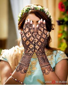 from - We're batting away the Monday blues with this pretty henna peekaboo! 😜😜 For latest henna ideas head to the site, we promise you' Wedding Henna Designs, Mehndi Designs For Hands, Hand Designs, Mehndi Design Pictures, Mehndi Images, Lehenga Choli, Anarkali, Indian Mehendi, Indian Wedding Henna