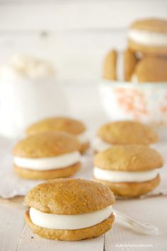 Carrot Cake Whoopie Pies with Almond Cream Cheese Buttercream Frosting