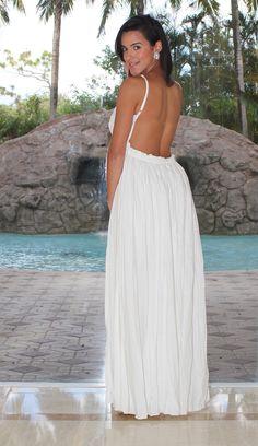 0f09acb5b31 Textured Open Back Maxi Dress - White
