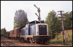 212060 am 10.8.1989 um 18.31 Uhr mit einem Güterzug auf der Madonnenbahn bei Bödigheim auf dem Weg nach Seckach. Gerd Hahn