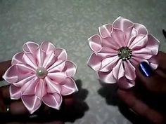 Neuza Pereira shared a video Diy Lace Ribbon Flowers, Kanzashi Flowers, Ribbon Art, Ribbon Crafts, Felt Flowers, Fabric Flowers, Diy Hair Bows, Diy Bow, Beaded Ornaments