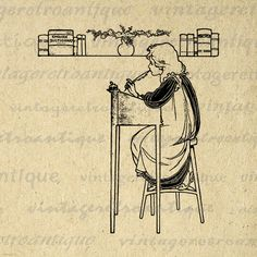 Girl Writing at Desk with Feather Quill Pen Graphic Image Printable Download Digital Artwork Antique Clip Art 18x18 HQ 300dpi No.3441 @ vintageretroantique.etsy.com #DigitalArt #Printable #Art #VintageRetroAntique #Digital #Clipart #Download