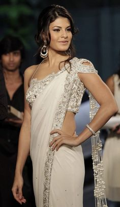 Jacqueline Fernandez in white Saree - for more follow my Indian Fashion Boards :)