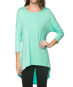 Mint Hi-Low Long-Sleeve Top by Chalmon's #zulily #zulilyfinds