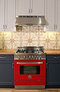 The Red Bertazzoni Range Was The Inspiration For The Colors In The Kitchen  Backsplash.