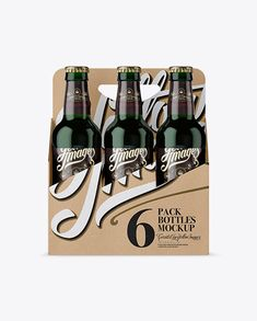Kraft Paper 6 Pack Green Bottle Carrier Mockup – Front View Preview
