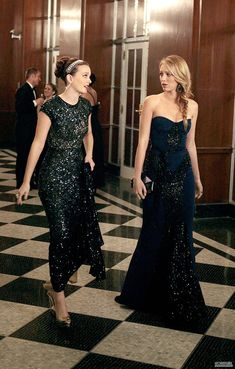 Blair Waldorf and Serena Van Der Woodsen I wish I had ambassador dinners and galas to attend..I think I'm going to start wearing full length beaded evening gowns to church haha