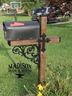 Cross Themed Wrought Iron Mailbox Dress Up Kit Wrought Iron Cross Mailbox Post Accessory Dress Up Ki Mailbox Makeover, Diy Mailbox, Mailbox Post, Mailbox Ideas, Mailbox Designs, Mailbox Garden, Metal Mailbox, Outdoor Projects, Wood Projects