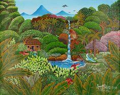 Indigo Arts Gallery | Nicaraguan Art | Fletes Cruz Kindergarten Art Lessons, South American Art, Tropical Forest, Naive Art, Cover Art, Folk Art, Primitive, Indigo, Sculptures