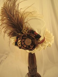 MINI STEAMPUNK  small ivory with brown Felt Riding by EmilyWayHats, $69.00