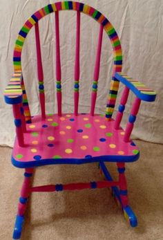 30 Creative DIY Painted Chair Design Ideas - Page 21 of 39 Painted Kids Chairs, Painted Rocking Chairs, Whimsical Painted Furniture, Childrens Rocking Chairs, Hand Painted Furniture, Painted Tables, Painted Teacher Chair, Decoupage Furniture, Painting Kids Furniture