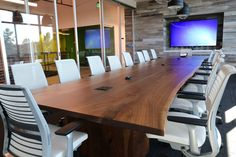 Walnut live edge bookmatch conference table