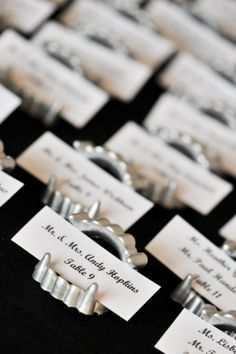 Wishing you could tie the knot inside Dracula's castle? These vampire teeth escort cards are perfect for your Halloween wedding.