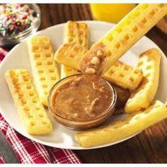 Waffle Sticks w/ Peanut-Cinnamon Syrup: 2 T crunchy Peanut Butter, 2 T HUNGRY JACK microwave ready regular Syrup, Dash cinnamon, 6 waffle sticks. 4.5 star rating