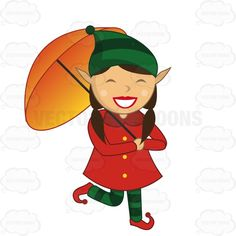 Female Elf With A Large Smile On Her Face While Holding An Umbrella And Walking #cheer #christmas #elf #elves #female #girl #happy #joy #run #santa #umbrella #walk #walking #winter