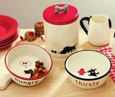 Dog Food or Water Bowl, by Tag. Treat your pup to an adorable ceramic food or water bowl! Part of the Meow & Woof Collection. Choose the Hungry (food) dish on the left or the Thirsty (water) bowl on the right. Measures 2.375 x 6.5 inches. 24 ounce capacity. Other collection items also available!