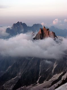 Aiguille du Midi (3,842 m), French Alps  photography, mountains, fog