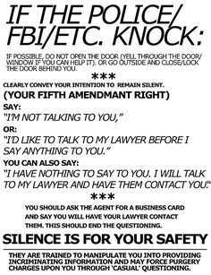 #Prepper: If the Police/FBI/Etc. Knock ... Silence is for your safety. #PrepperTalk