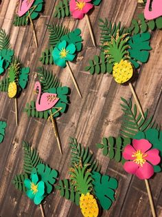 Your place to buy and sell all things handmade Tropical Cupcake Toppers Luau Theme Party, Hawaiian Party Decorations, Moana Birthday Party, Luau Birthday, First Birthday Parties, Birthday Party Decorations, Tropical Cupcakes, Tropical Party, Flamingo Birthday