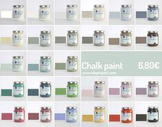 Cómo se hace la chalk paint y montones de ideas para usar esta pintura sobre madera, cartón y cerámica. Aprende todas las utilidades de pintura tan de moda. Chalk Paint Colors, Decoupage, Diy, Crafts, Painting, Ideas, Shopping, Homemade Paint, Painting Pots