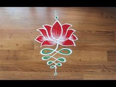 Daily simple lotus rangoli designs with colours by Shital Daga - YouTube
