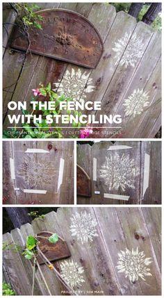 A DIY stenciled fence idea using the Chrysanthemum Grande Flower Stencil. http://www.cuttingedgestencils.com/flower-stencil-4.html  #fence #stenciling #stencils