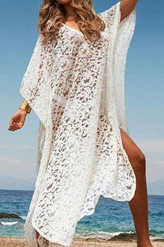 White Lace Bat-Wing Sleeve Maxi Dress