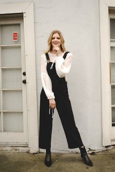 Outfit Combinations to Try This Week: Statement sleeve blouse with french dot details and overalls. Shot by Rachael Dickens for @stylereportmag