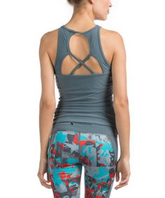 Slate Cutout Blocked Tank by Pink Lotus, 27.99$ from 58$, *Stretch-enhanced material:  (73% nylon / 27% spandex), Made in the USA