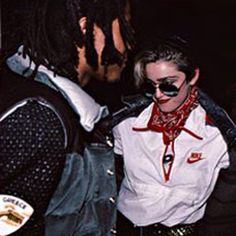 Jean-Michel Basquiat and Madonna dancing at the Mudd Club in NYC. 1982