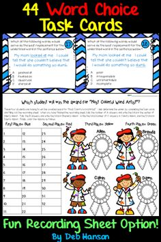 Would you like your students to use more varied and interesting words in their writing? These word choice task cards provide a writing mini lesson activity that will help your students with word choice in writing.