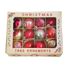 Pre-Owned 1960s   Christmas Tree Ornaments S/12 ($115) ❤ liked on Polyvore featuring home, home decor, holiday decorations, christmas, decorative accessories, red christmas ornaments, holiday christmas ornaments, red ornaments, holiday decor and holiday ornament
