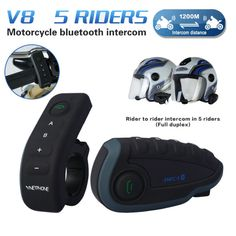 88.94$  Watch here - http://ali4d5.worldwells.pw/go.php?t=32763454178 - Motorbike Bluetooth Headset Helmet For 5 Riders Intercom With NFC Remote Controller FM V8 BT Interphone 1200M Intercomunicador