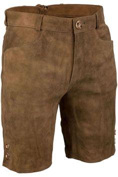 Kurze schlichte Lederhose braun antik - Herren - Mia San Tracht Komplette Outfits, Neue Trends, Bermuda Shorts, Wolf, Amazon, Fashion, Oktoberfest, Mens Leather Pants, Dirndl