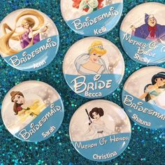 Wedding Themes Disney Bridal Party Blue Character 3 by BippityBoppityButton Disney Inspired Wedding, Cinderella Wedding, Disney Weddings, Fairytale Weddings, Intimate Weddings, Unique Weddings, Wedding Disney, Disney Bachelorette Parties, Bachelorette Weekend