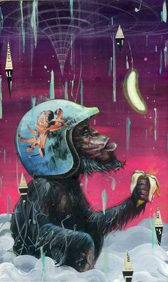 Electric Banana  Chimp Monkey Art Print by BlackInkArtz on Etsy, $12.00