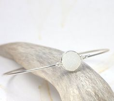White Druzy and Sterling Silver Bangle Bracelet - Size XS (7 inches)
