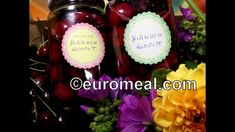 Kirschenkompott im Glas haltbar gemacht - euromeal.com Desserts, Food, Corning Glass, Tailgate Desserts, Deserts, Essen, Postres, Meals, Dessert