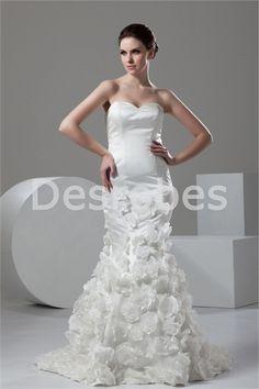 Robe de mariée sirène décorée de fleus sans bretelles en satin