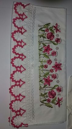 Floral Tie, Embroidery Designs, Rugs, Crochet, Embroidered Towels, Bath Linens, Crochet Edgings, Craft, Needlepoint