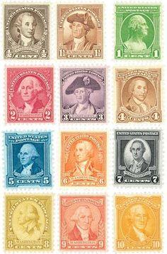 U.S. #704-14 – 1932 Washington Bicentennial stamps.