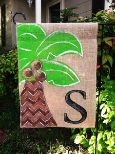 Burlap Palm Tree Garden Flag with your by ModernRusticGirl on Etsy, $22.00